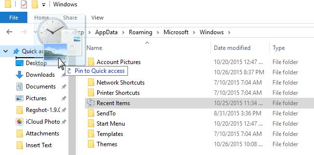 appdata roaming microsoft templates - add the recent items folder to windows 10 quick access