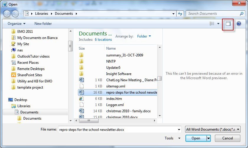 Can T Preview Word 2010 Docs In Windows 7 Poremsky Com