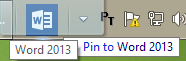 Pin a template to an office 2013 application