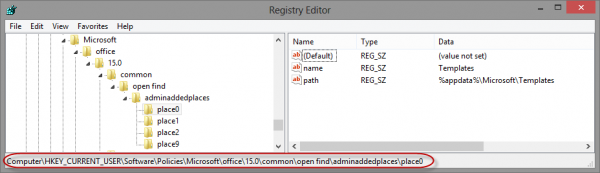 Registry editor with some places bar entries