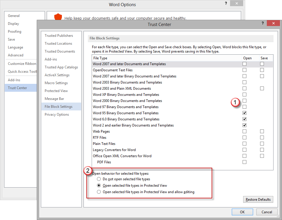 Can't open Office documents? Check the File Block settings