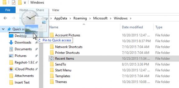 windows 10 how to clear recent files list