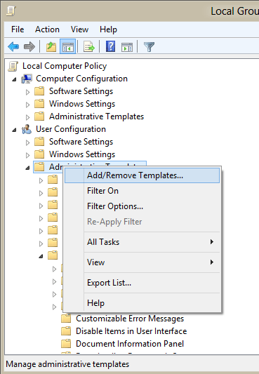 Add ADM templates to the editor