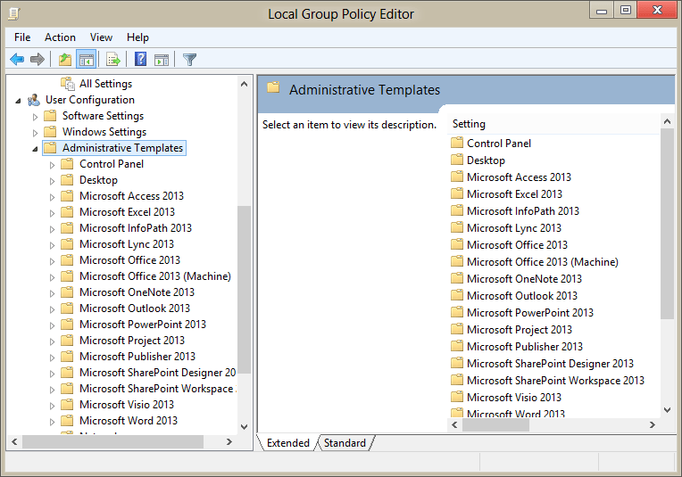 Use group policy admx files in windows 7 or 8 non domain computers the group policy window with office policy templates toneelgroepblik Choice Image