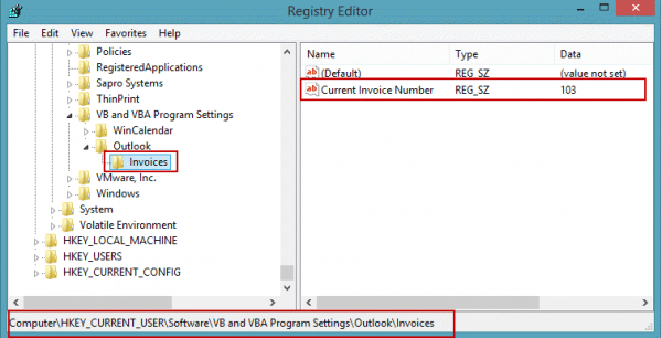 Sequential numbers are stored in the registry