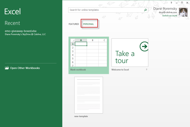 Use local templates with Office 2013 - @Poremsky.com