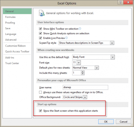 Disable the Start screen in Office 2013 applications
